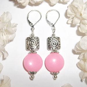 Pink Earrings For Women Dangle Drop Beaded 4585